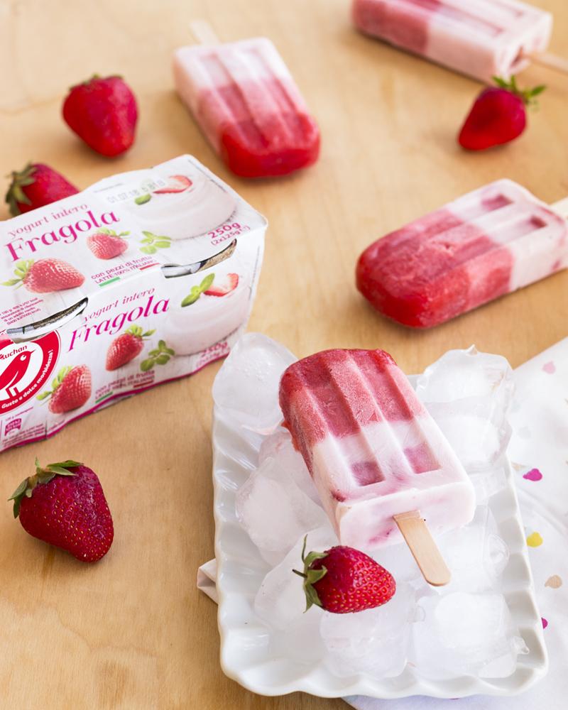 ghiaccioli fior di fragola con yogurt