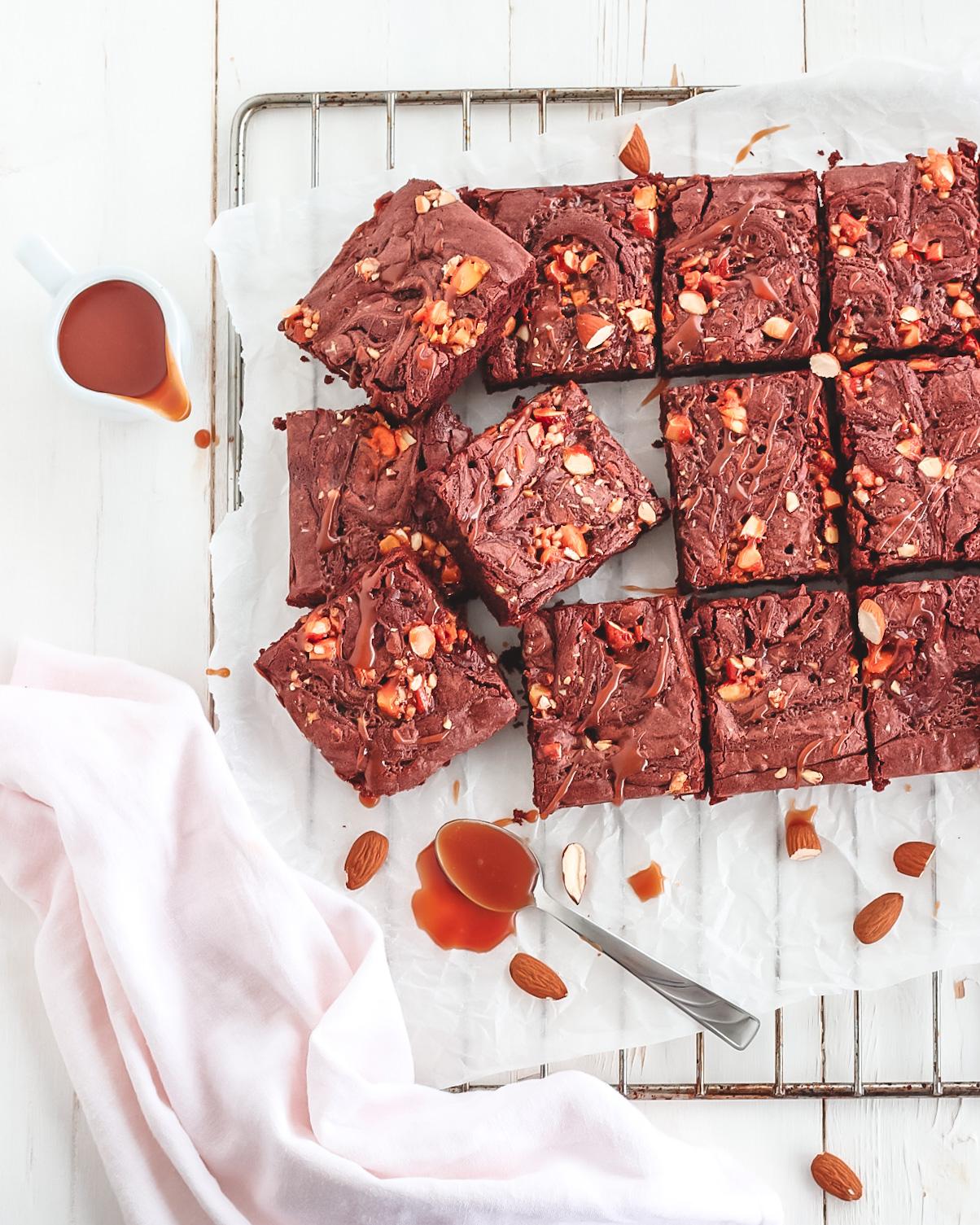 brownies con cioccolato e caramello salato